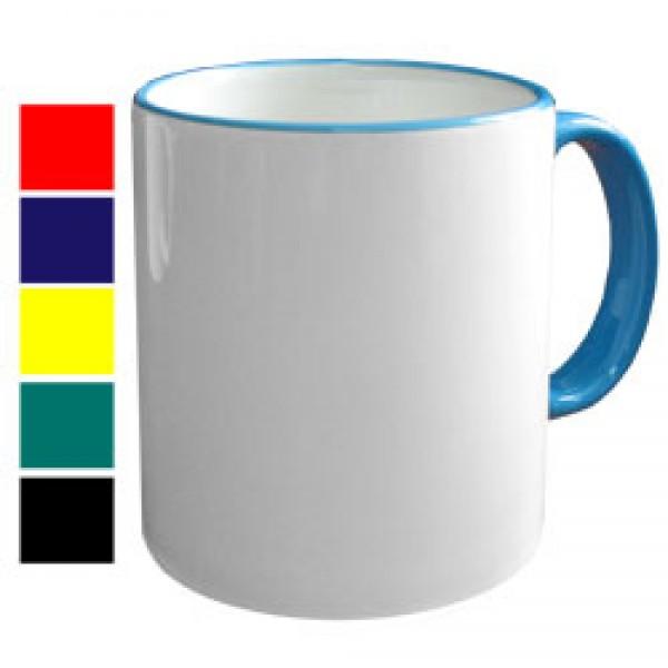 Кружка с цветной ручкой и каймой для сублимации